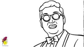 How to Draw psy from gangam style  Easy drawing psy