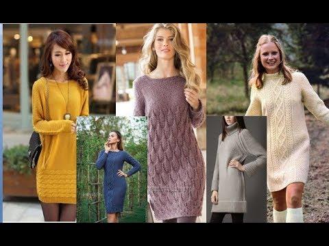 Слайд шоу -вязаные платья спицами 1
