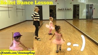 A Little Toddler's First Ballet Dance Lesson. Family Fun with Hulyan and Maya! Family Toy Channel