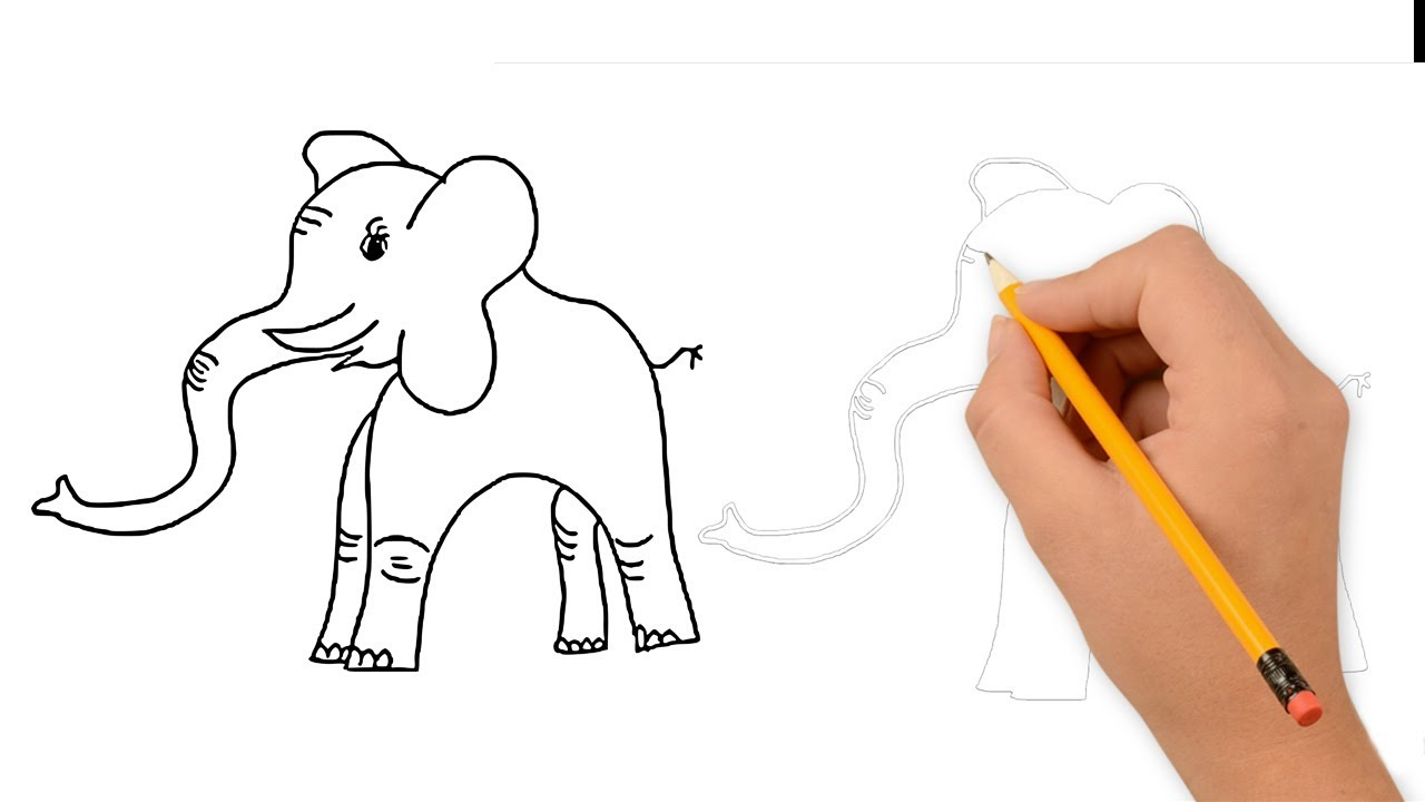 How to draw an elephant easy cartoon pencil drawing for kids