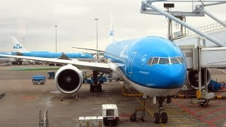 KLM Boeing 777-300ER takeoff from Amsterdam + rough landing at São Paulo Guarulhos