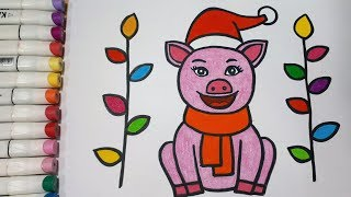 How To Draw A Pig For Christmas || Draw For Kids