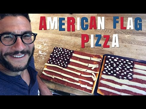 AMERICAN FLAG PIZZA!!! 4th Of July / Independence Day Special [cooking Hack]