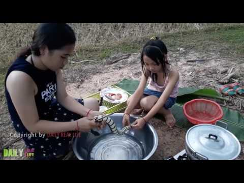 Beautiful Girls Cooking snake   How to Cook Water Snake in Cambodia   Country food in my village