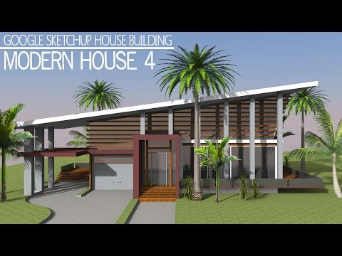 Google sketchup speed building modern house doovi for Modern house sketchup