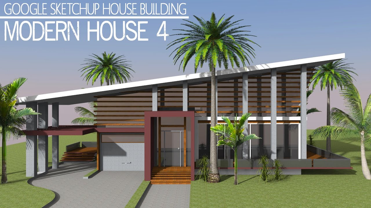 Google sketchup speed building modern house 4 youtube for Google house builder