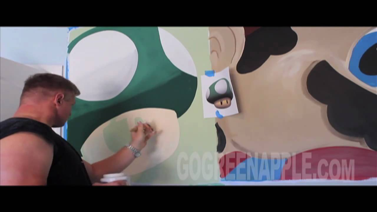 Boys Bedroom Ideas Cool Super Mario Green Apple Painting