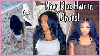 WATER COLORING Navy Blue Hair In 10 Mins! SuperNova Hair  Akeira Janee'