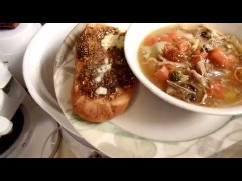 Turkey, Vegetable, Pasta soup from the pantry.