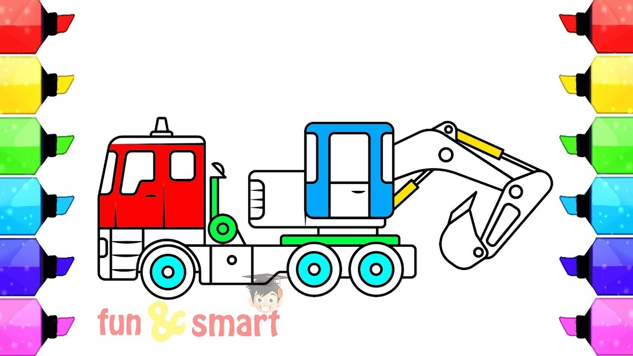 belajar cara mewarnai mobil beko angkutan proyek