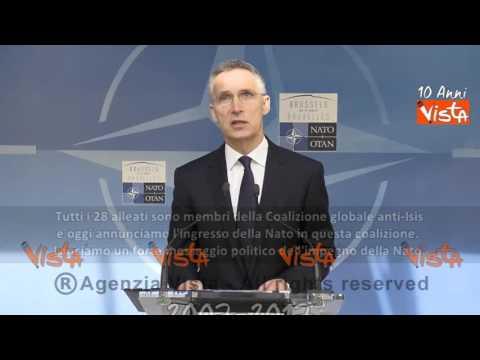 """Stoltenberg: """"Nato in coalizione anti-Isis ma non partecipera' a combattimenti"""" / sottotitoli #t"""