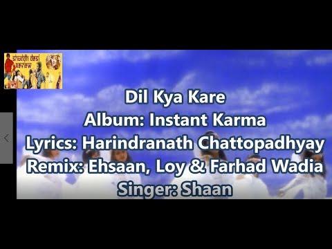 Dil Kya Kare Shaan Instant Karma Timed Lyrics English Translation (No Music)