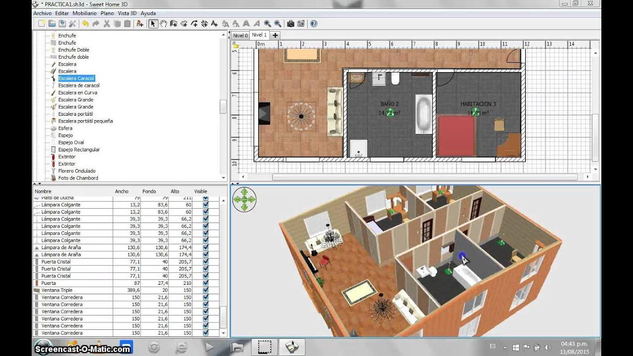 sweet home 3d clase 5 de 6 youtube. Black Bedroom Furniture Sets. Home Design Ideas