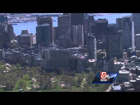 Sky 5 shows Boston skyline on beautiful, spring day