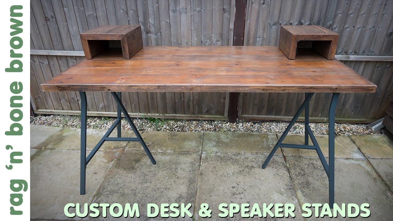 custom desk and speaker stands with ikea lerberg legs part 1 of 2 youtube. Black Bedroom Furniture Sets. Home Design Ideas
