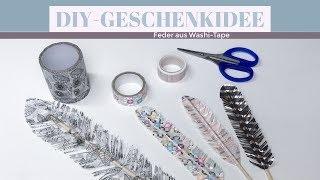 DIY Geschenkidee Feder aus Washi  Tape oder einem Foto