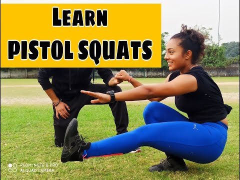 How to One leg Squat (pistol Squats) tutorial in Hindi thumbnail