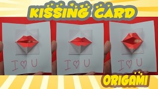 Valentine's day - DIY Origami kissing lips & Secret Message - Pop up Card