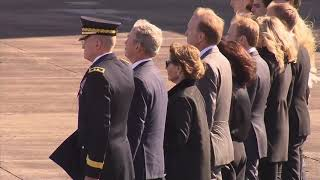 President George HW Bush receives 21 gun salute