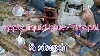 How to apply liquid blue, Tinopal & starch in machine. Laundry prosses  (hindi)