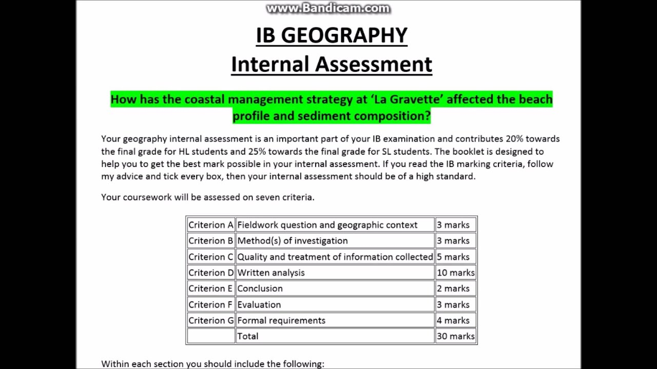 ib internal assesment Ib psychology (sl internal assessment) your final exam for the spring semester will be your ib internal assessment ib diploma/certificate.