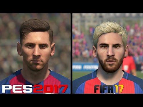 FIFA 17 vs PES 2017 Faces Comparison - Barcelona: Messi, Suarez, Neymar