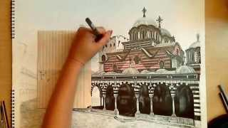 Realistic Drawing with Colored Pencils: The Rila Monastery ( B U L G A R I A )