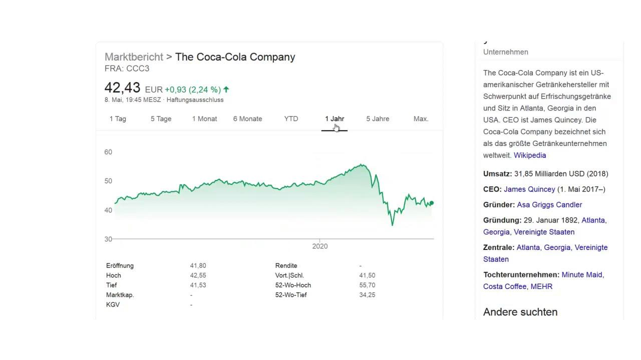 coca cola aktie dividende auszahlungstermin