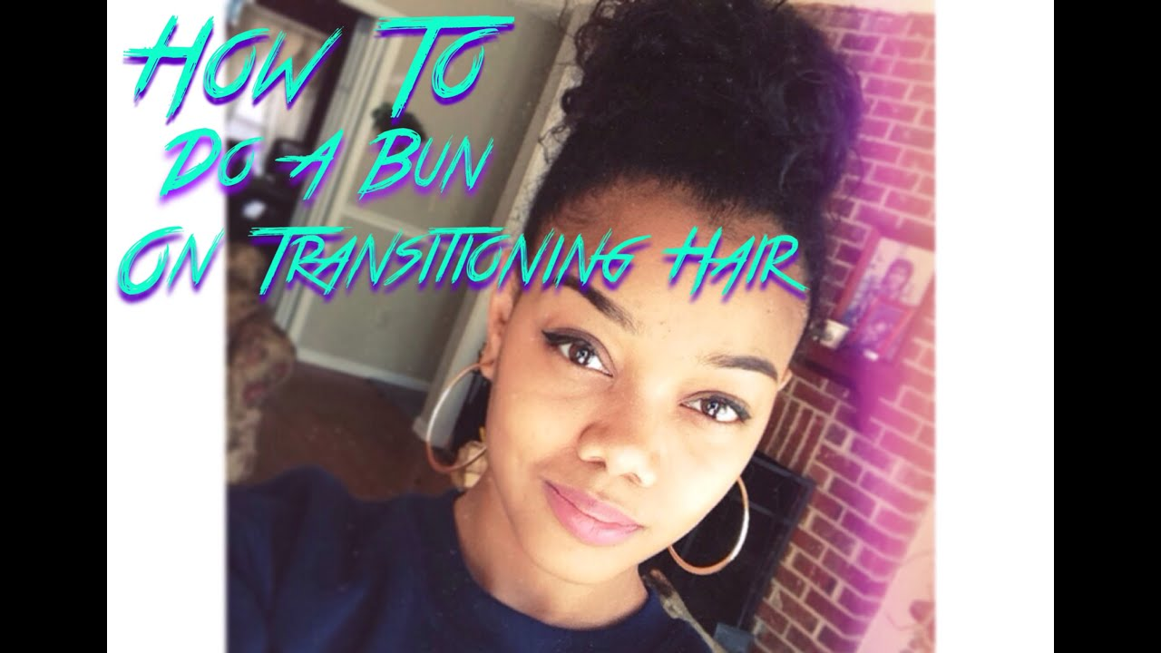 tutorial: how to do a bun on transitioning hair - youtube