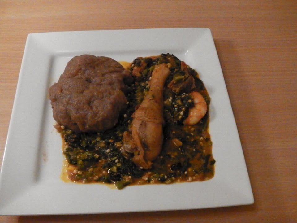 Nigerian Okra Ogbono Soup with Amala- Nigerian - YouTube