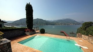 Waterfront villa Lake Garda rent pool beach private dock  |  Villa Lago di Garda affitto fronte lago