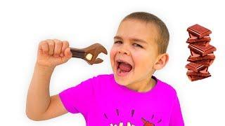 डिमा और डैडी ने एक चॉकलेट चुनौती दी