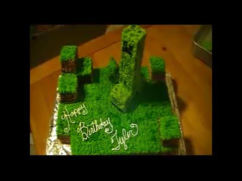Minecraft Creeper Birthday Rice Krispy Treat Cake Homemade