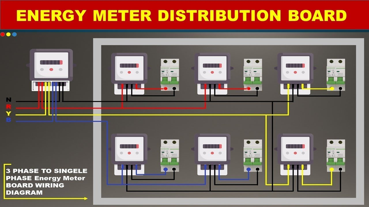 THREE    PHASE    ENERGY METER CONNECTION    WIRING       DIAGRAM    METER