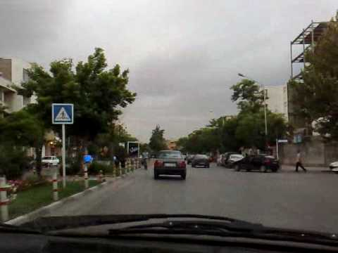 Mashhad, Iran, 4-rahe Khayyam, from inside a taxicab + Radio Mashhad audio