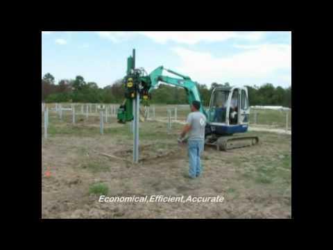 Doyle Engineering Vibro Post Driver Installing Piles on Philadelphia Solar Farm in USA