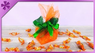 DIY How to make candy gift sack, gift for Halloween (ENG Subtitles) - Speed up #534