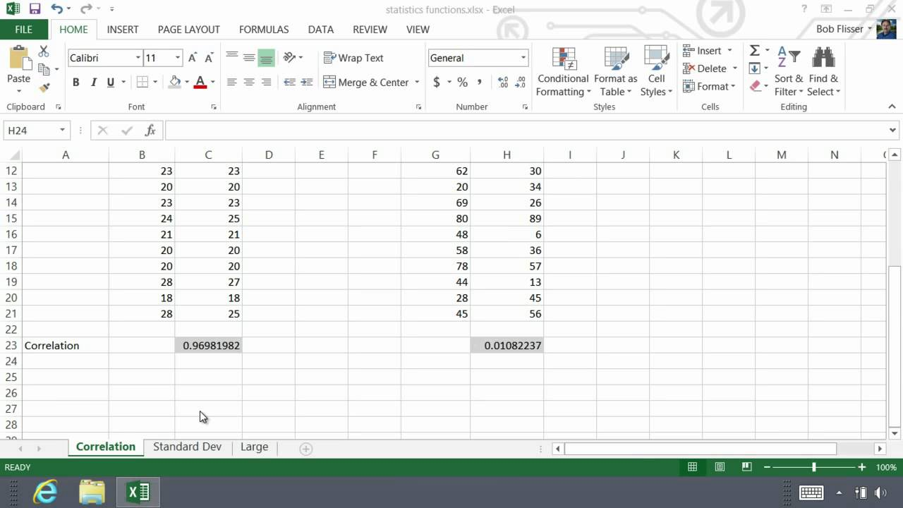 Microsoft Excel 2013 Essentials Correlation, Standard Deviation, Median &  Large By Bob Flisser