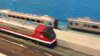 Fast Amtrak Ho Scale Trains! 7.11.16