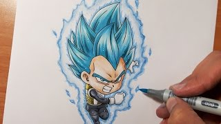 Drawing Chibi Vegeta Super Saiyan Blue