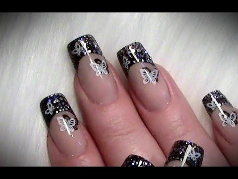 Stamping Glitter Nageldesign Mit Schmetterlingen Nail Art Design