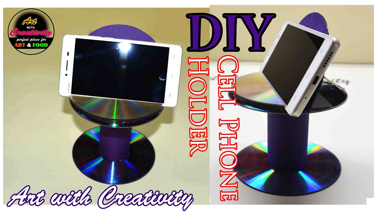 Diy cell phone holder best out of waste cd dvd art for Creativity out of waste