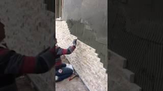Traverten 5x15 patlatma doğal taş duvar kaplama bahçe bina. Cephe dekorasyon uygulama şekli