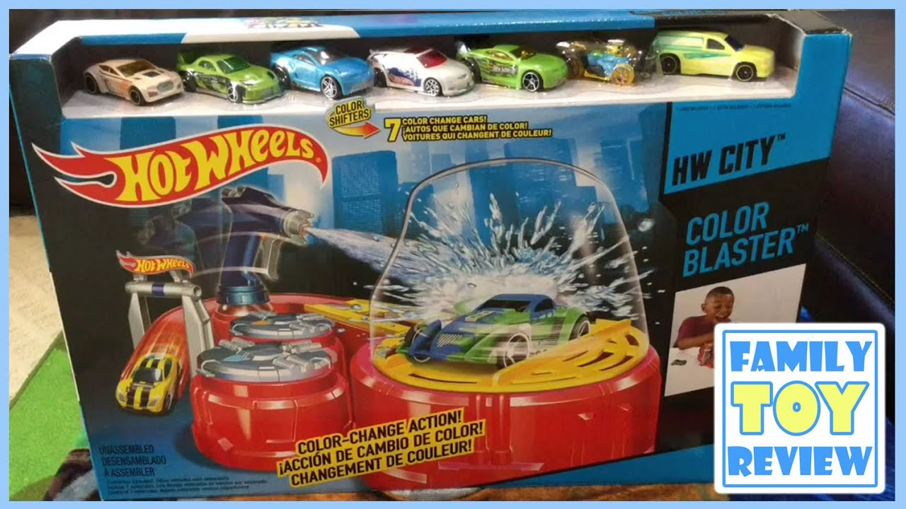 Colour Changing Car Hot Wheels - Unboxing the hot wheels hw city color blaster playset color changer cars by familytoyreview