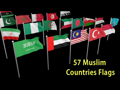 Flags and Countries name of 57 Islamic Cooperation members
