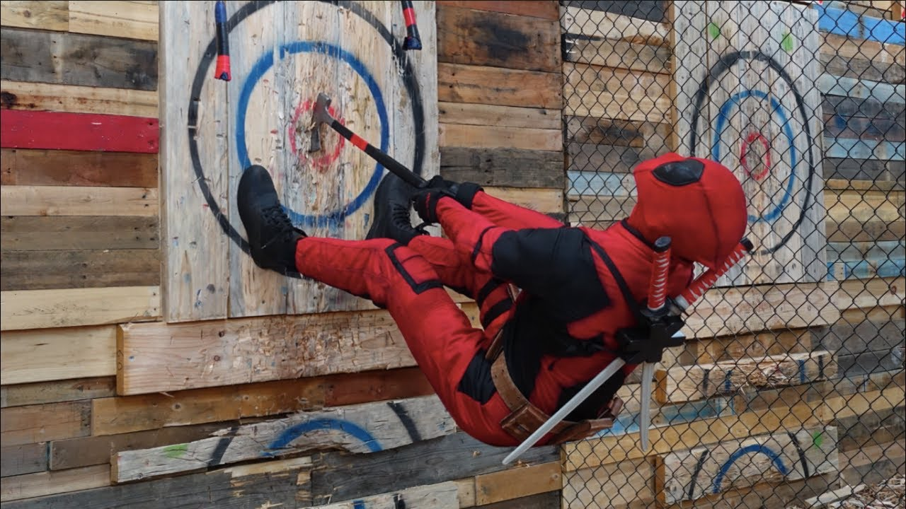 Learn to AXE THROW with DEADPOOL | Axe-imum Effort - YouTube