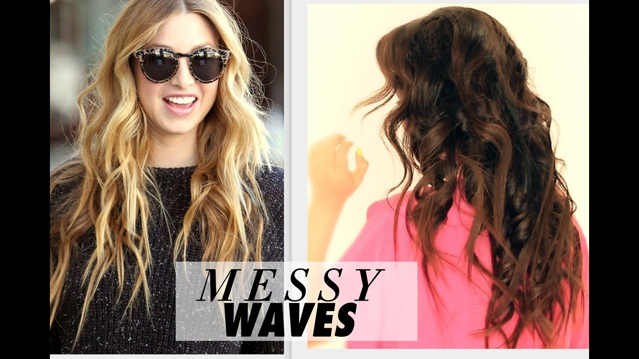 E   Messy Beach Waves Curls Tutorial Long Hairstyles How To Curl Your Hair With A Straightener Youtube