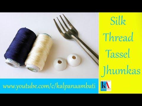 How to make Silk Thread Jhumkas at home // Handmade Tassel Jhumkas tutorial