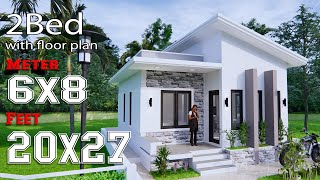 Small House Design 6x8 Meter 20x27 Feet Shed Roof Full Plans