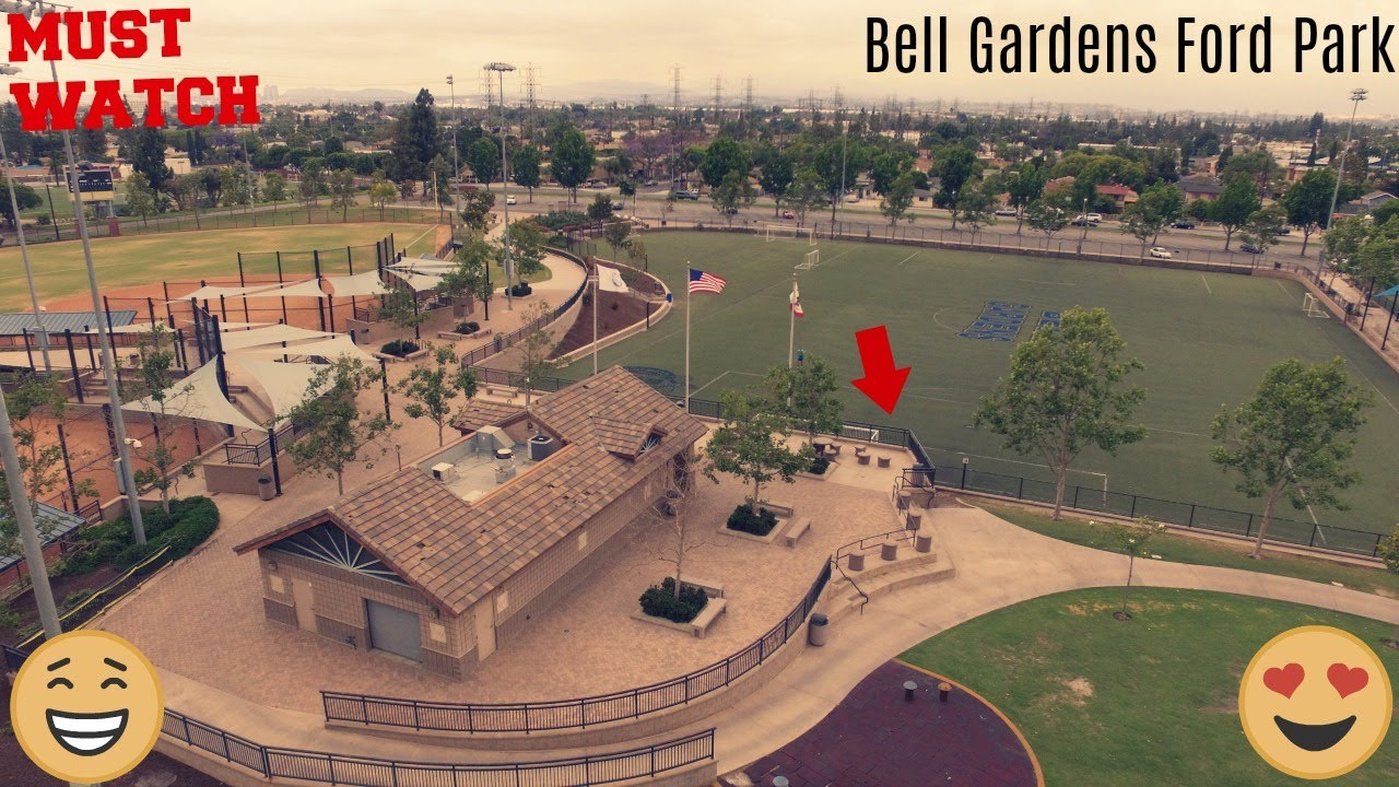 Bell Gardens Ford Park Drone Shots - YouTube